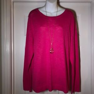 J. Crew hot pink light knit sweater. XL NWT